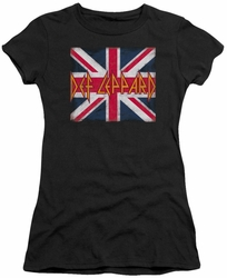 Def Leppard juniors sheer t-shirt Union Jack black