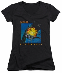 Def Leppard juniors sheer v-neck t-shirt Pyromania black