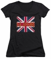 Def Leppard juniors sheer v-neck t-shirt Union Jack black