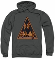 Def Leppard pull-over hoodie Distressed Logo adult charcoal