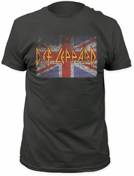 Def Leppard union jack fitted jersey tee charcoal t-shirt pre-order