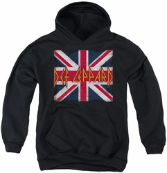 Def Leppard youth teen hoodie Union Jack black