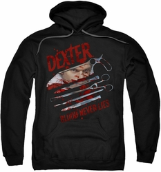 Dexter pull-over hoodie Blood Never Lies adult black
