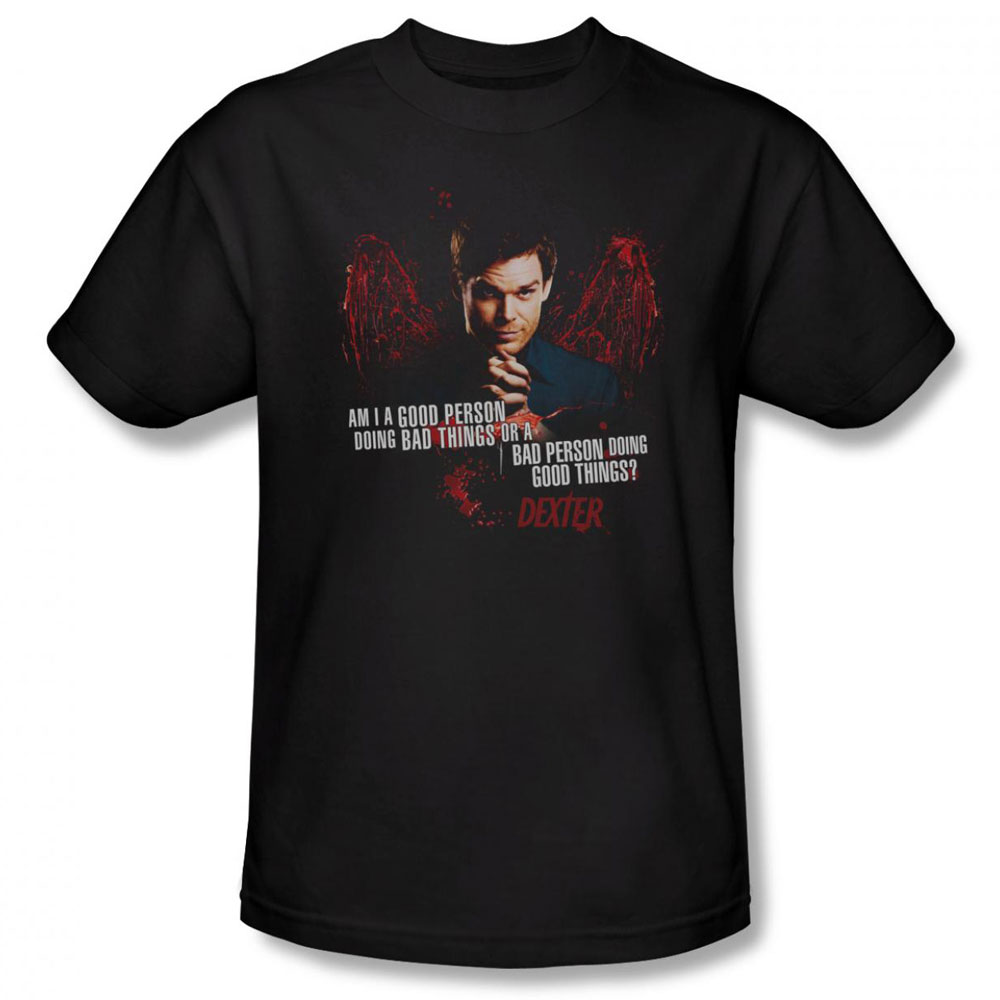 Dexter t shirt good bad mens black for Great shirts for guys