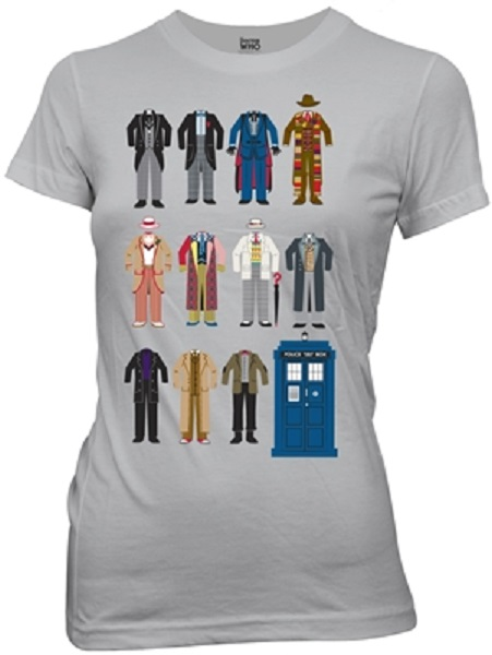 doctor who all doctors outfits juniors tshirt preorder