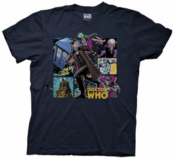 Doctor Who Cartoon Panels Collage mens t-shirt
