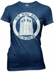 Doctor Who No Boss No Bills Navy Heather Juniors t-shirt