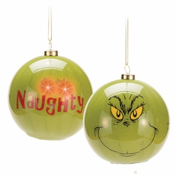 Dr. Seuss Grinch Naughty LED Ball Ornament