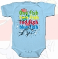 Dr Seuss One Fish Two Fish Red Fish Blue Fish infant snap suit pre-order