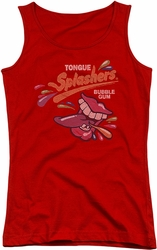Dubble Bubble juniors tank top Distress Logo red