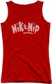 Dubble Bubble juniors tank top Distressed Logo red