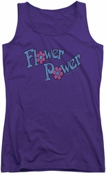 Dubble Bubble juniors tank top Flower Power purple