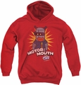 Dubble Bubble youth teen hoodie Motor Mouth red
