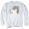 Elvis adult crewneck sweatshirt Aloha Knockout white
