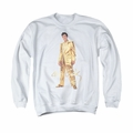 Elvis adult crewneck sweatshirt Gold Lame Suit white