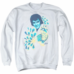 Elvis adult crewneck sweatshirt Peacock white