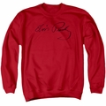 Elvis adult crewneck sweatshirt Signature Sketch red