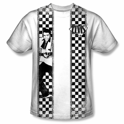 Elvis front sublimation t-shirt Checkered Bowling Shirt short sleeve White