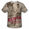 Elvis front sublimation t-shirt Flaming Star short sleeve White