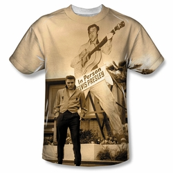 Elvis front sublimation t-shirt Larger Than Life short sleeve White