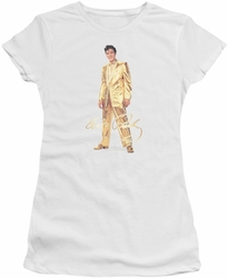 Elvis Presley juniors t-shirt Gold Lame Suit white