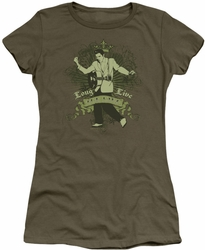 Elvis Presley juniors t-shirt Long Live The King military green