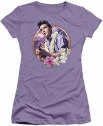Elvis Presley juniors t-shirt Luau King lavendar