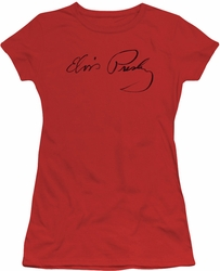 Elvis Presley juniors t-shirt Signature Sketch red