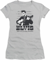 Elvis Presley juniors t-shirt The King of silver