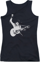 Elvis Presley juniors tank top Black & White Guitar Man black