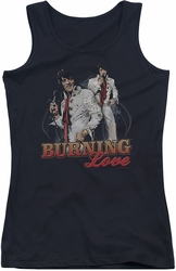 Elvis Presley juniors tank top Burning Love black
