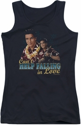 Elvis Presley juniors tank top Can't Help Falling black