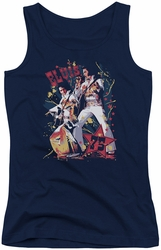 Elvis Presley juniors tank top Eagle Elvis navy