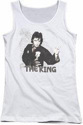 Elvis Presley juniors tank top Fighting King white