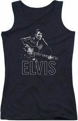 Elvis Presley juniors tank top Guitar In Hand black