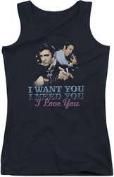 Elvis Presley juniors tank top I Want You black