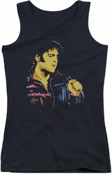 Elvis Presley juniors tank top Neon Elvis black