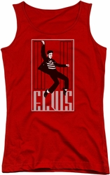 Elvis Presley juniors tank top One Jailhouse red