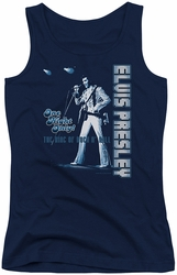 Elvis Presley juniors tank top One Night Only navy