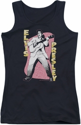 Elvis Presley juniors tank top Pink Rock black