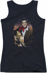Elvis Presley juniors tank top Red Scarf #2 black