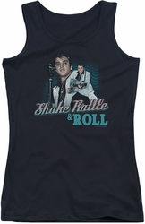 Elvis Presley juniors tank top Shake Rattle & Roll black