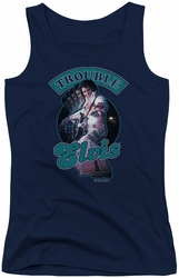 Elvis Presley juniors tank top Total Trouble navy