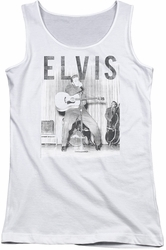 Elvis Presley juniors tank top With The Band white