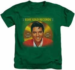 Elvis Presley kids t-shirt Gold Records kelly green