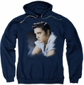 Elvis Presley pull-over hoodie Blue Profile adult navy