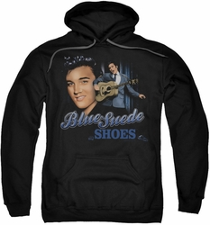 Elvis Presley pull-over hoodie Blue Suede Shoes adult black