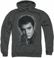 Elvis Presley pull-over hoodie Grey Portrait adult charcoal