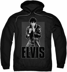 Elvis Presley pull-over hoodie Leather adult black