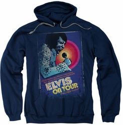 Elvis Presley pull-over hoodie On Tour Poster adult navy